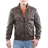 Matchless Herren Winter Leder Jacke G9 Bomber Mud Brown 113176 Größe L