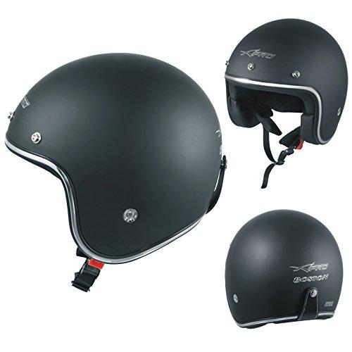A-pro casco moto jet omologato ece 22-05 nero opaco custom scooter naked taglia l