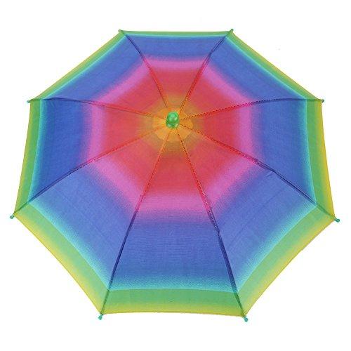 VGEBY1 Chapeau de Parapluie, Chapeaux de tête de Chapeaux de Parapluie de Soleil de 3 Couleurs extérieures Pliables pour la pêche de Golf campant(Rainbow)