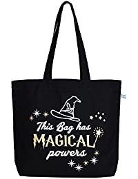 "EcoRight Reusable 100% Cotton Canvas EcoFriendly Large Tote Bag Printed ""Magical Powers"""