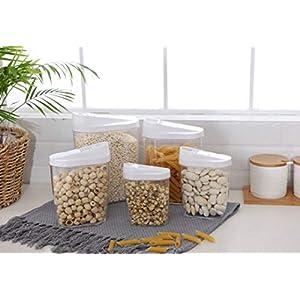 5 Stück Abschließbar Stapelbar lebensmittel vorratsdosen Clear Acryl Kunststoff Lagerung Gläser 1440ml, 960ml, 720ml, 480ml, 300ml