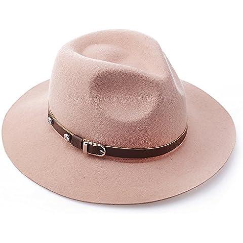 Primavera de Europa gorro de lana señoras británico de jazz Hat Hat color sólido accesorios de cuero auténtico sombrero,Camel