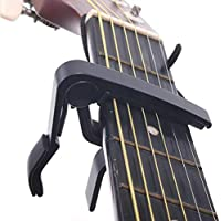 Healifty Guitarra de Metal Capo Púas de Guitarra Cambio Rápido Sintonización Abrazadera Capo Clip en El Sintonizador para Guitarra Eléctrica Acústica Negro