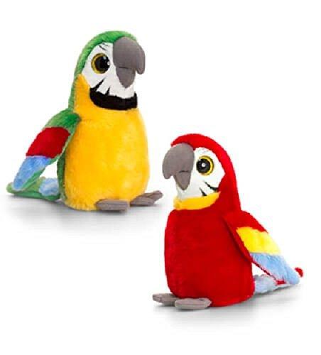 Keel Toys Perroquet de luxe avec yeux brillants 25 cm