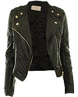 Diana New Womens Faux Leather Biker Gold Button Zip Crop Ladies Jacket Coat