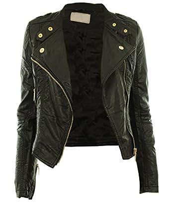 Black UK 8 - Diana New Womens Faux Leather Biker Gold Button Zip Crop Ladies Jacket Coat