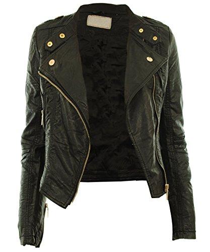 Diana Frauen Faux Leder Biker Gold Button Reißverschluss Zuschneiden Länge Damen Jacke