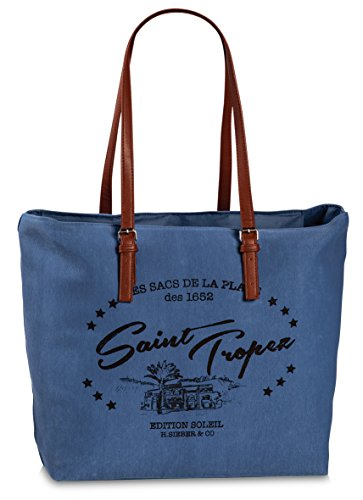 Fabrizio Shopper Shopper Borsa Da Spiaggia Saint Vacanza Borsa Denim Blu