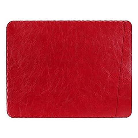Highdas Slim Leather Sleeve Sac pochette pour MacBook Air 13.3 '' Simple Designer avec microfibres Felt Doublure (Dual Pouch / Rouge)