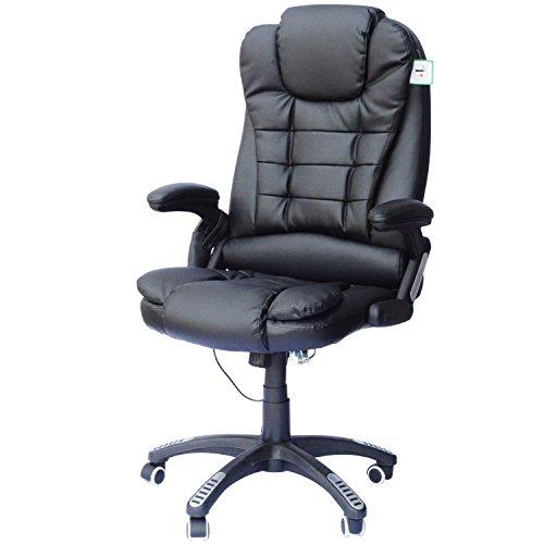 Homcom A2-0055 Bürosessel, Lederimitat, schwarz, 62 x 68 x 121 cm
