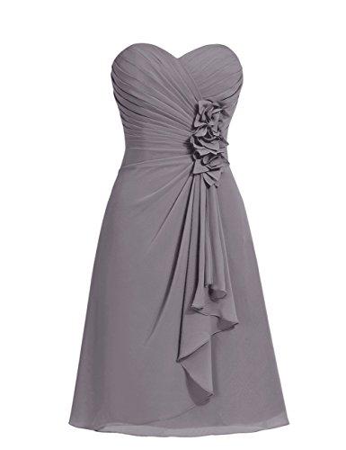 Dresstells, robe courte de demoiselle d'honneur mousseline Col en cœur Gris