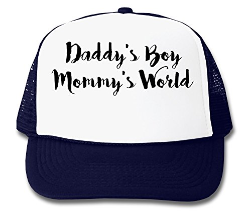 Daddy's Boy Mommy's World Black Letters Logo Unisex Truckerkappe One Size (Blue Passt Boys Navy)
