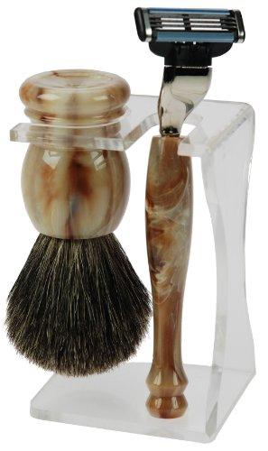 Fantasia - 81000 - Set de rasage - Blaireau véritable - Lames Mach 3 - Plastique - Crème-marbré - Hauteur: 14.5 cm