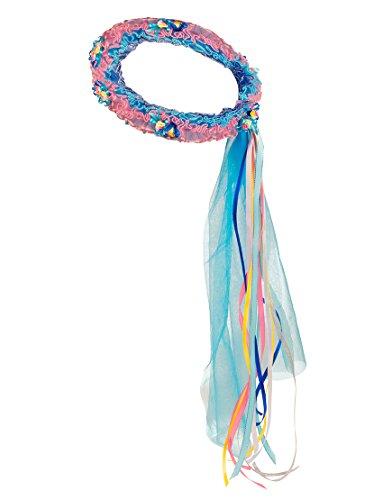 Für Kids Kostüm Pfau - Dreamy Dress-Ups 50380Crown, Peacock with Flowers, Blumenkranz Haarschmuck mit Blümchen & glitzernden Schleifen, Blaue Pfau Pavo cristatus