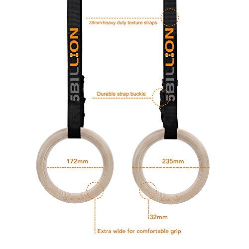 Zoom IMG-2 5billion anelli ginnastica legno fitness
