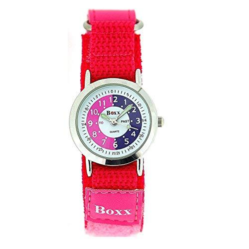 BOXX Lernuhr Mädchen mit Pink/Weißem Ziffernblatt PU-Armband mit Klettverschluss + Uhr Lesen Urkunde