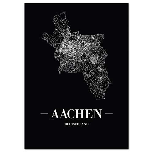 JUNIWORDS Stadtposter, Aachen, Wähle eine Größe, 30 x 40 cm, Poster, Schrift A, Schwarz