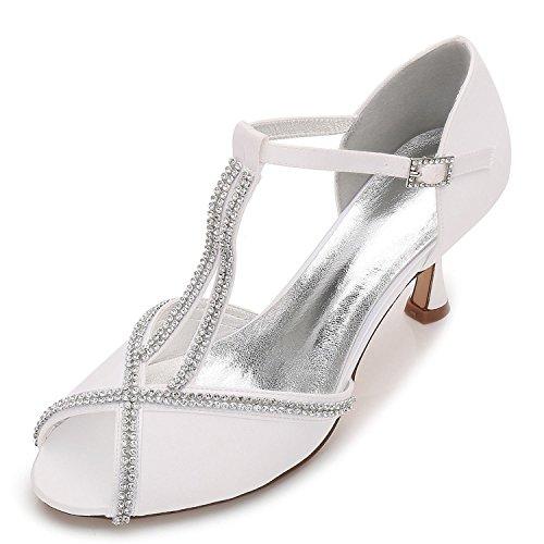 L@YC Chaussures de Mariage Pour Femmes E17061-11 Boucle Diamant Couture Peep Toe DÉté Mariée Nuptiale Ivoire