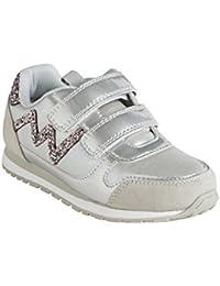 VERTBAUDET Zapatillas con Tiras autoadherentes y Brillantes, para niña Gris Medio Liso 28
