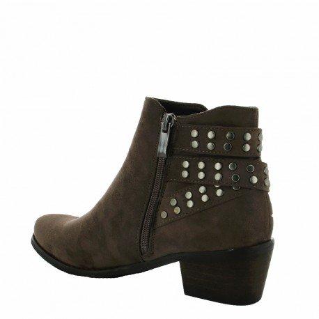Ideal Shoes - Bottines effet daim avec brides cloutées Pascaline Taupe