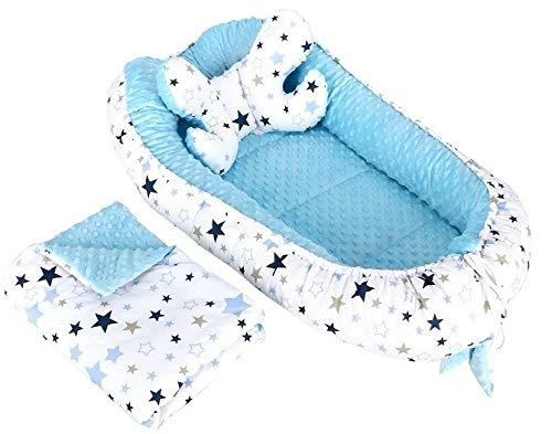 3tlg Babynestchen Babykokon 2seiting MINKY Kokon Nest Babynest + Decke Kissen (Konstellation auf Weiß/Blau)