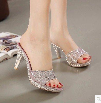 ZYUSHIZ High-Heel wasserdicht Sommer koreanische Version Sandalen Hausschuhe Frau Ziehen Sie T 35EU