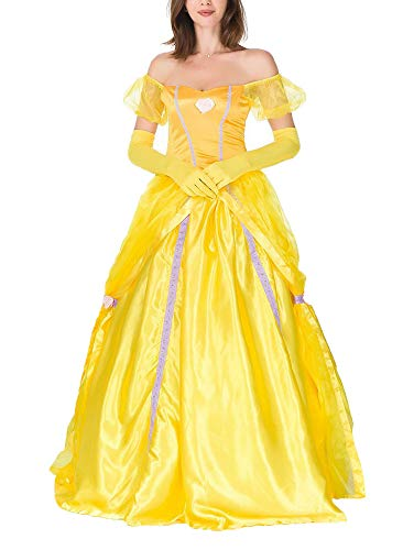 Teufel Sexy Kostüm Übergröße - Freitop Halloween Kostüm Prinzessin Kleid mit Reifrock Petticoat Die Schöne und Das Biest Belle Kostüm Rollenspiel Kostüm Rock Gelb Abendkleid für Damen Mädchen Cosplay Party Club Karneval Fest