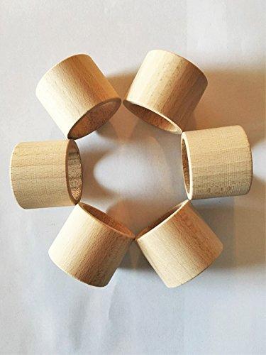 Rond de serviette rond droit, bois naturel 45x 32mm, lot de 6