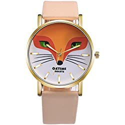 Watch, Tonwalk Cartoon Fox Design PU Leather Band Analog Alloy Quartz Wrist Watch