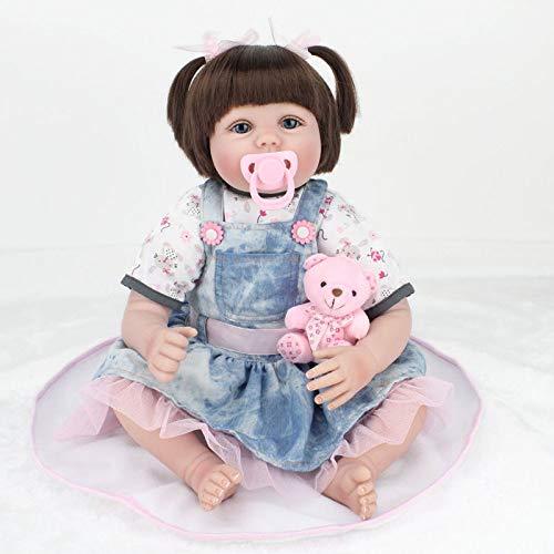 Simulation Puppe Rebirth Baby Schul dchen Denim Rock Früherziehung Requisiten Reborn Körper Silikon Vinyl Puppe 22 Zoll Full Alive Baby Real Vinyl Bauch Kinder Spielzeug Kinder Geburtstagsgeschenk (Fidelity Denim)