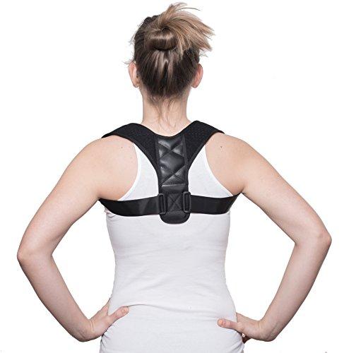moLife Geradehalter aus hochwertigem Material - verstellbarer Unisex Rückentrainer - Haltungstrainer für ein gesundes Körperbewusstsein und ein attraktiveres Auftreten (Fit Damen T-shirt Entspannt)