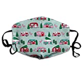 Christmas Camper Cute Retro Camper Vintage Christmas Design Cute Mint and Pink Campers Christmas Florida Tropical Flamingos Anti-Dust Cotton Mouth Face Masks Reusable for Outdoor Half Face Masks