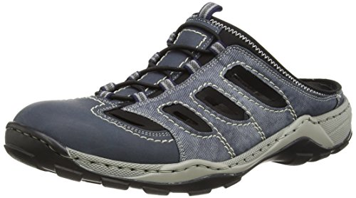 Rieker 08096 Mules & Clogs-Men, Herren Clogs, Blau (denim/jeans/schwarz/16), 43 EU