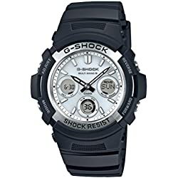 CASIO Men's Quartz Watch with White Analogue/Digital Display and Black Resin Strap AWG-M100S-7AER