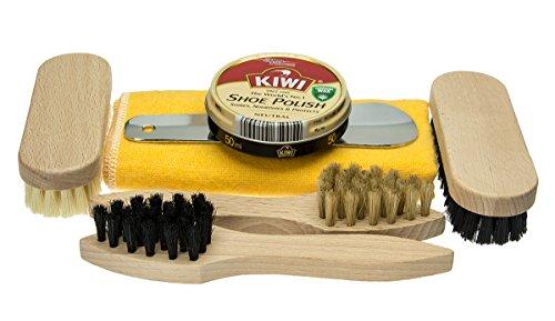 Reise Schuhputzset 7-Teilig - perfekte Schuhpflege auch unterwegs mit Schuhbürsten von Langlauf Schuhbedarf (Kiwi Polish Set)