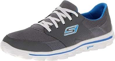 Skechers GO Walk 2Stance Running Shoes Mens Gray Charcoal/Blue Size: 7 (41 EU)