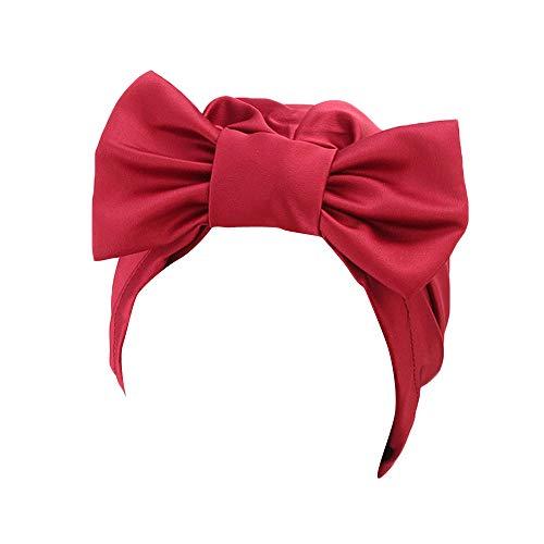 VRTUR Damen Winter Strickmützen Mütze Retro Solide Bogen Hut Turban Krempe Hut Kappe Haufen Kappe (Disney Peter Pan Qualität Kostüm)