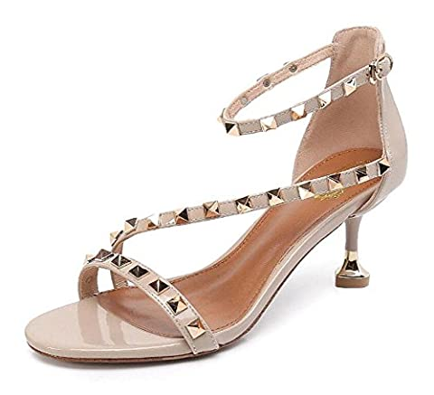 Women Ankle Strap Pumps Summer Leather Case T-Strap Rivets Tapered Heel Sandals Female Straps Hollow Heart Shaped High Heels Shoes , beige ,