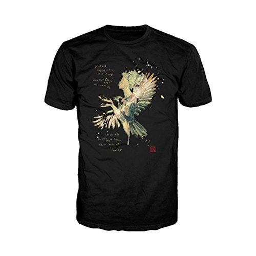 Beatles David Mack Blackbird Official Men's T-Shirt (Black) (Medium) -