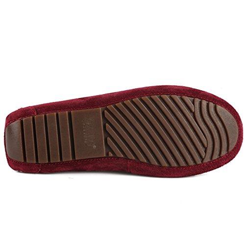 OZZEG Ladies féminin plat plein cuir mocassin Tassel Loafers chaussures de bateau de confort Rouge