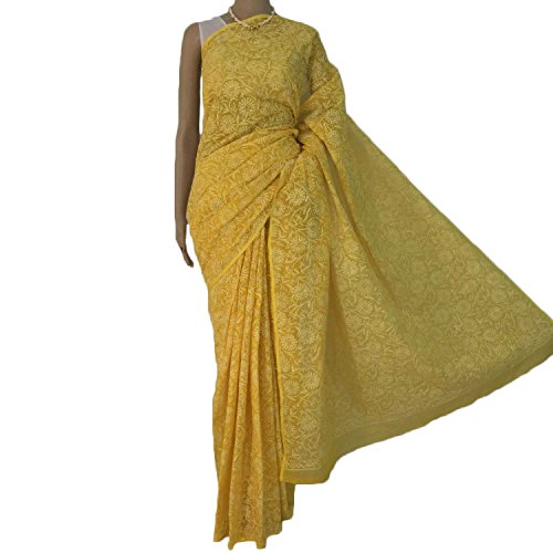 R'ZU Women's Yellow all over work lucknowi chikan Kota SarI
