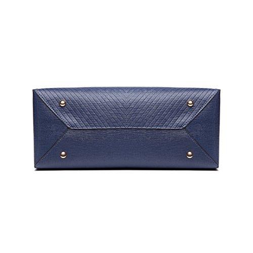 Miss Lulu femmes en cuir PU sac fourre-tout sac à bandoulière carré 6636 bleu marine