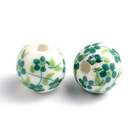 Packet of 10 x White/Green Porcelain 12mm Round Beads - (HA27025) - Charming Beads