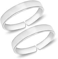MJ 925 Plain Simple Comfortable 92.5 Sterling Silver Toe Rings (Leg Finger Rings) for Women