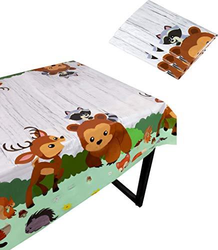 Blue Panda Woodland Animals Party Tischdecke - 3er-Pack Einweg-Tischdecken aus Kunststoff - Tiere Motto Party Supplies Kinder Geburtstag Baby Dusche Dekoration 137,2 x 274,3 cm
