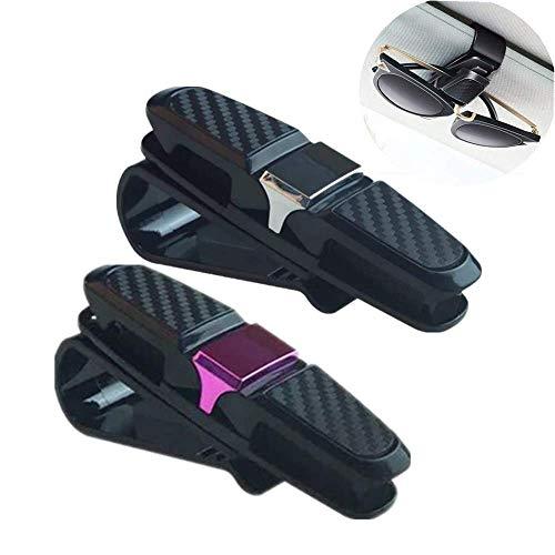 KUKU ZHEN 2 Stück Auto Brillenhalter Multifunktional Universal Sonnenbrillenhalter Sonnenblende Clip Brillenbügel Halterung mit Kartenclip