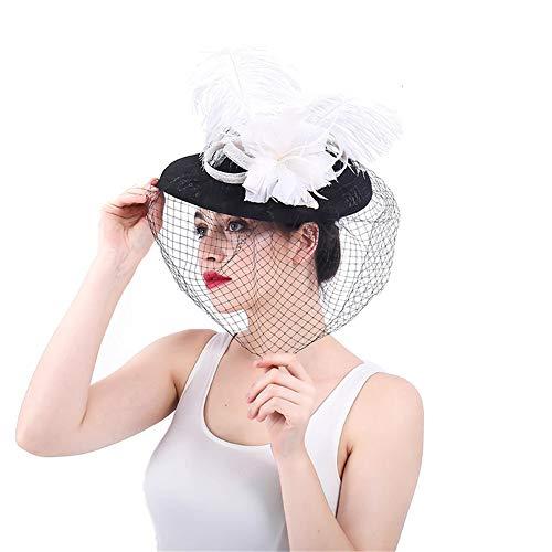 Jusheng Kopf-Blumen-Cocktail-Hüte der Dame-Feder-Netzmaschen-Haarspange