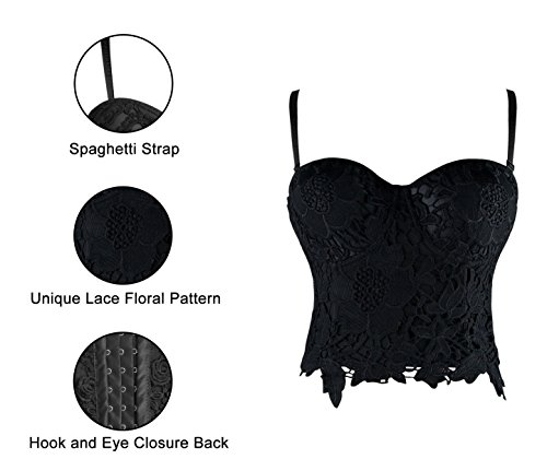 Charmian Women's B Cup Sexy Beauty Floral Lace Bustier Club Party Crop Top Bra Nero