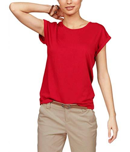 TrendiMax Damen T-Shirt Einfarbig Rundhals Kurzarm Sommer Shirt Locker Oberteile Basic Tops (Rot, L)