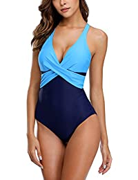 631e4a0ec6 Charmo Womens Retro Slimming One Piece Swimming Costume Tummy Control  Swimsuits